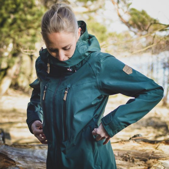 Outa Forest - womens green waterproof shell jacket